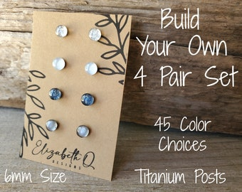 Small Studs, Build Your Own Custom Set, Glitter Studs Gift Box 4 Pair, Titanium Posts, Hypollergenic, Sensitive Ears