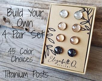 Build Your Own Custom Set, Glitter Studs Gift Box 4 Pair, Titanium Posts, Hypollergenic, Super Sparkly Glitter Earrings, Sensitive Ears