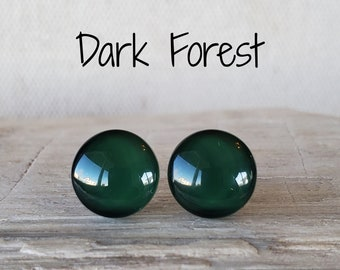 Dark Forest Stud Earrings, Titanium Posts, Hypoallergenic Studs, Sensitive Ears, 3 Sizes Available