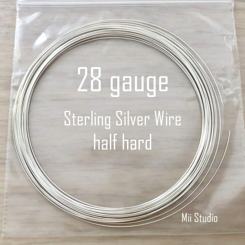 15ft solid 28 gauge Sterling Silver round beading wire bright shinny half hard w28HH