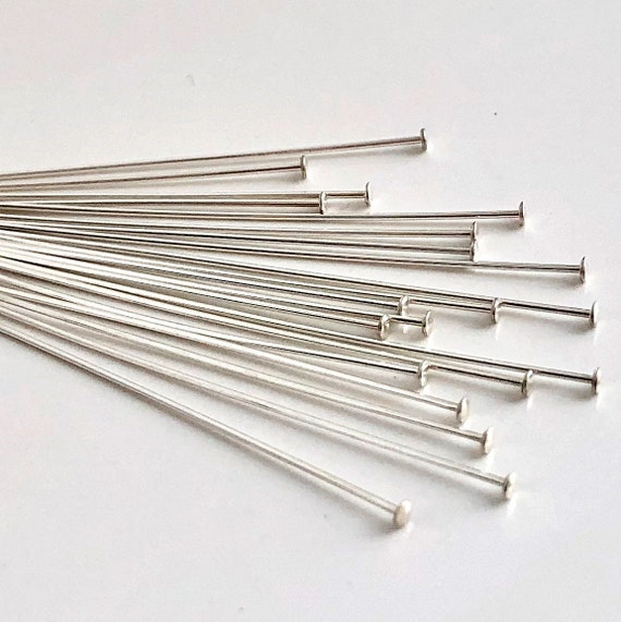 "30x 24 gauge solid sterling silver round ball dot head pin headpin 2/"" shiny F24s"