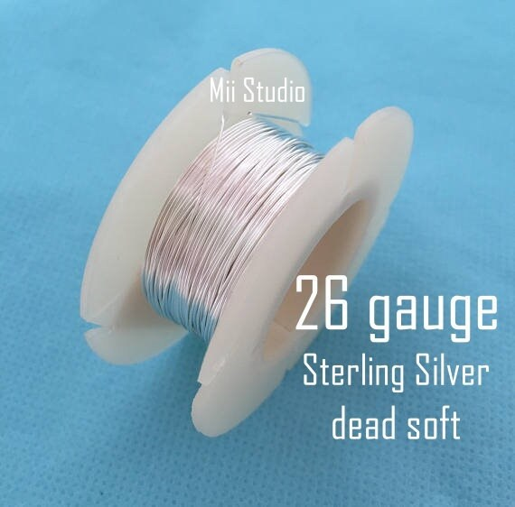 26 gauge Sterling Silver round beading wire bright shinny dead soft w26DS