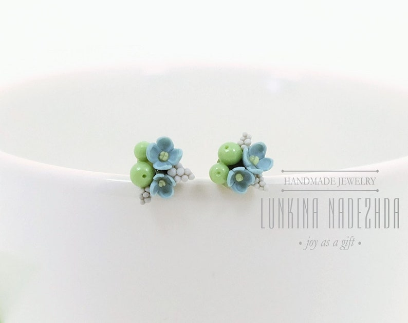 6c51a5542 Light blue green forget-me-not flower berries polymer clay | Etsy