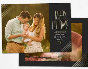 Christmas Card Template -  Gold Happy Holidays Horizontal Photo Card - Photoshop template 5x7 flat card - CC155