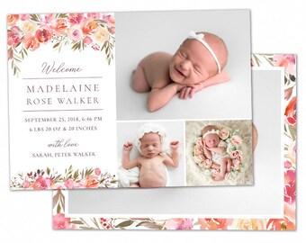 birth announcement template girl newborn announcement baby etsy
