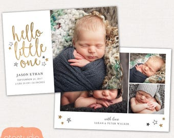 Birth Announcement Template - Baby Newborn Card Photoshop Template for Photographers - Hello Little One CB085 5x7 card - INSTANT DOWNLOAD