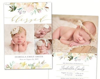 birth announcement template etsy