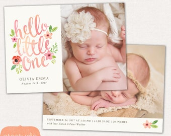 Birth Announcement Template - Baby Newborn Card Photoshop Template for Photographers - Floral Hello CB087 5x7 card - INSTANT DOWNLOAD
