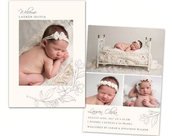Birth Announcement Template - Baby Newborn Card Photoshop Template for Photographers - CB125 5x7 card - INSTANT DOWNLOAD