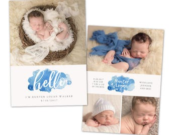Birth Announcement Template - Watercolor Baby Announcement Template for Photographers - Newborn 5x7 card - CB118  - INSTANT DOWNLOAD