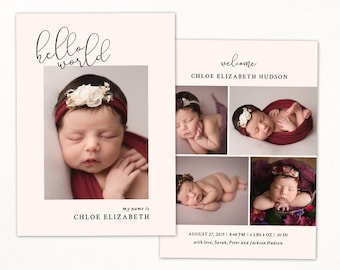 Birth Announcement Template CB219 INSTANT DOWNLOAD Newborn 5x7 card Baby Announcement Template for Photographers