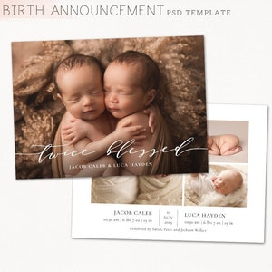 CB224 5x7 card INSTANT DOWNLOAD Twin Birth Announcement Template Twin Baby Newborn Card Photoshop Template for Photographers
