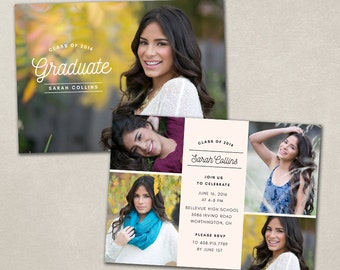 senior graduation announcement template for photographers psd etsy