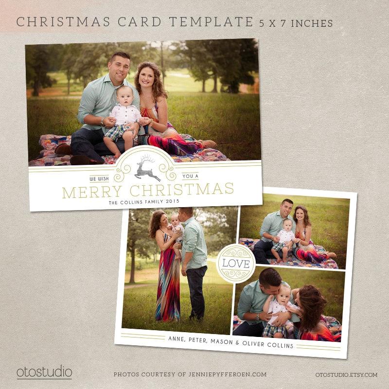 Christmas Card Template for photographers digital photoshop | Etsy