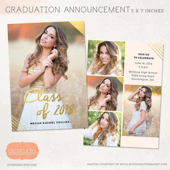 senior graduation announcement template for photographers psd etsy
