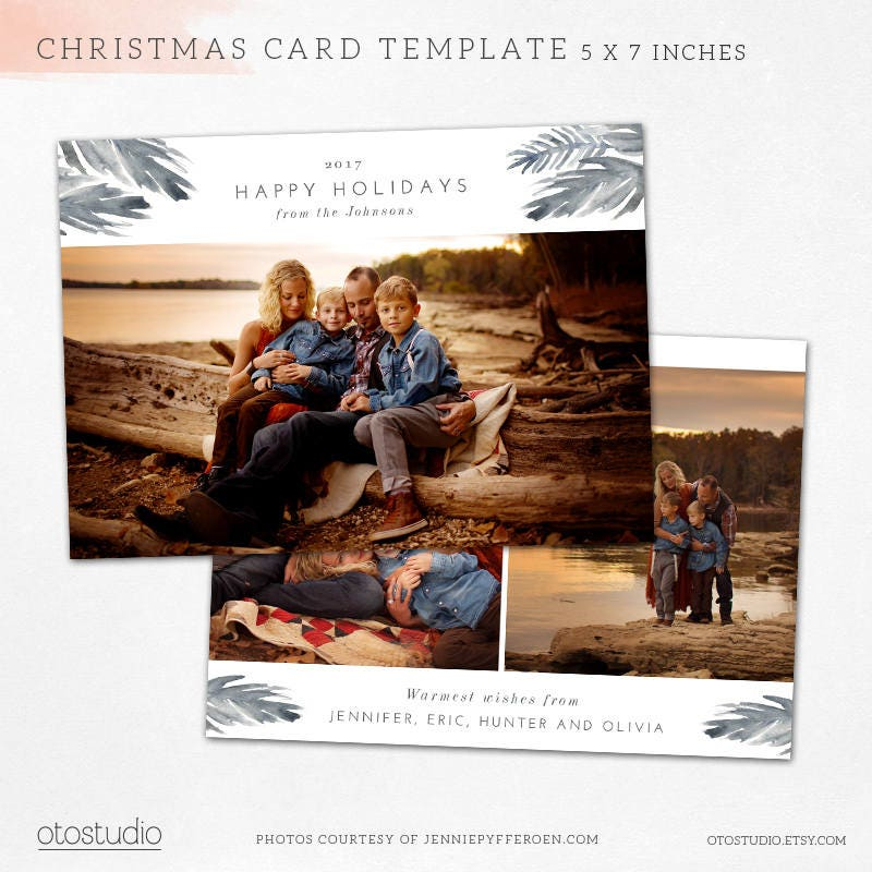 Christmas Card Template Watercolor Holiday Horizontal Photo   Etsy
