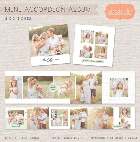 3x3 Mini Accordion Album Template INSTANT DOWNLOAD Newborn album template for photographers MA003