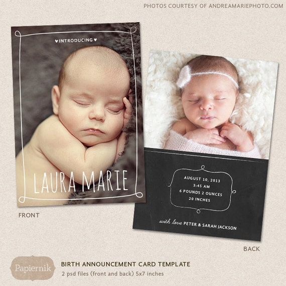 Birth Announcement Template Chalkboard Frames CB001 For