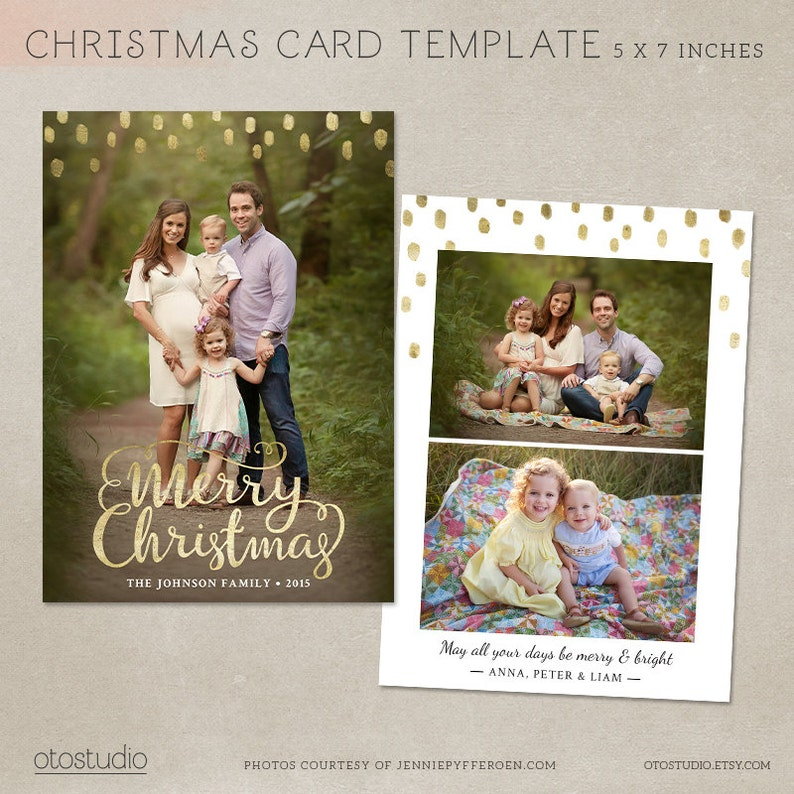 Christmas Card Template   Photoshop template 5x7 flat card  image 0