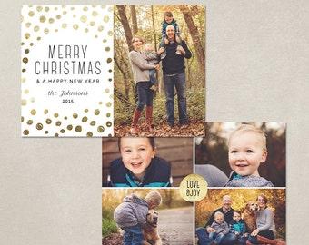 Digital Photoshop Christmas Card Template for photographers PSD Flat card - Gold Dots CC081