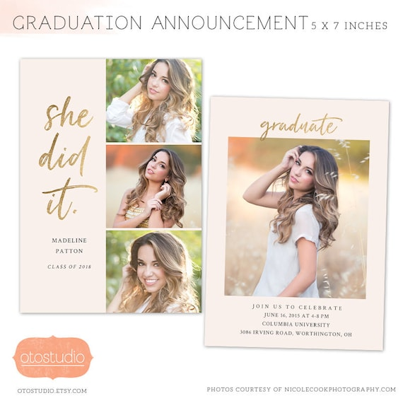 Graduation Announcement Template 2019 Senior Card For Etsy