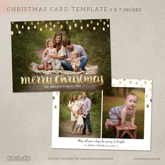 Christmas Card Template Photoshop Template 5x7 Flat Card Etsy