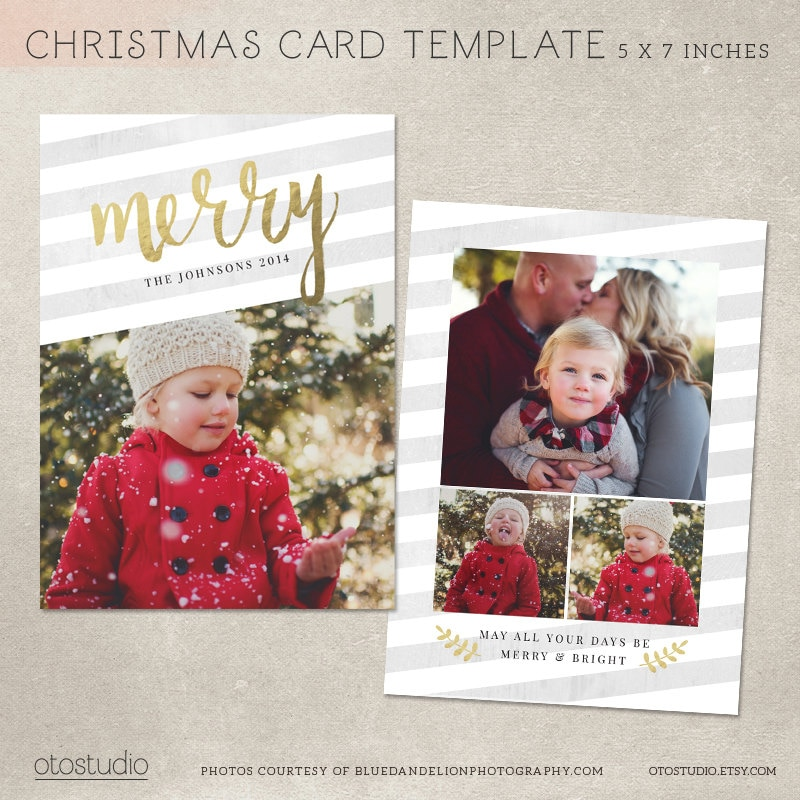 Digital Photoshop Christmas Card Template for photographers | Etsy