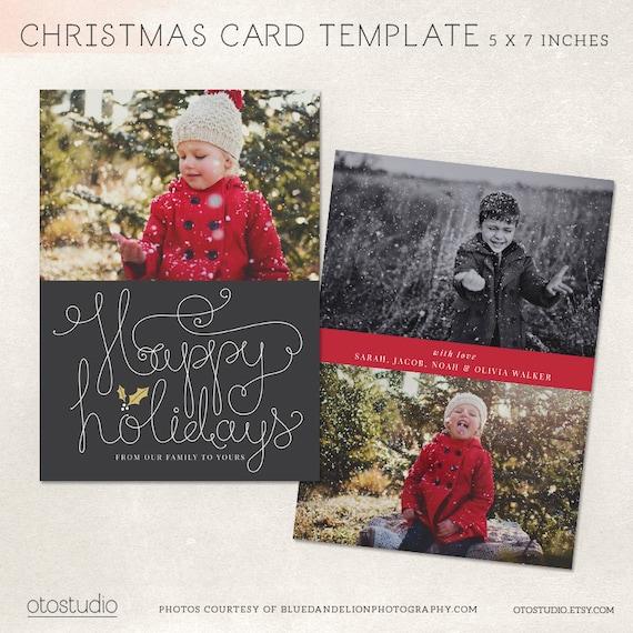 Digital Photoshop Christmas Card Template For Photographers Etsy