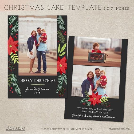Christmas card template photoshop template 5x7 flat card etsy image 0 m4hsunfo