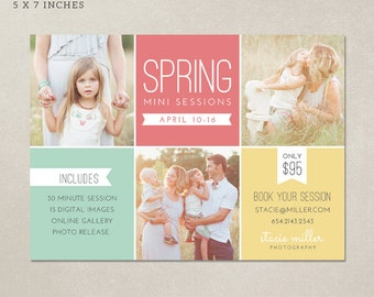 Spring Mini Session Template - All purpose marketing board MS008 - Photoshop template INSTANT DOWNLOAD