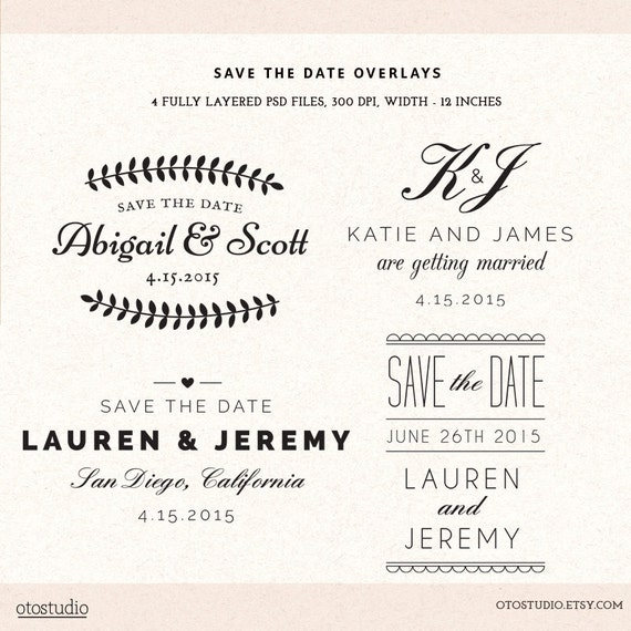 photoshop save the date overlays wedding photo cards psd etsy