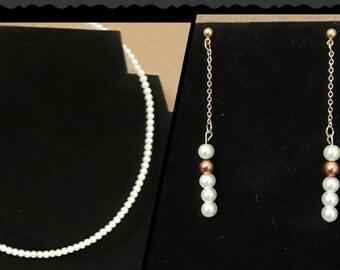 Faux, Gold, White, Pearl, Drop, Earrings, & Pearl Choker Necklace, Choker, Necklace, Earrings, Drop Earrings, Handmade, Gift, Woman, Jewelry