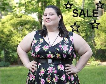 SALE Plus Size Dress, Womans Floral Dress Black and Pink Floral Plus Size Dress, Spring Summer Plus Size Dress,  Black Dress, Womens Dress
