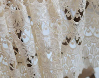 Vintage Lace Curtain In Ivory Crochet Venice Fabric Victoria Curtainlace Panel