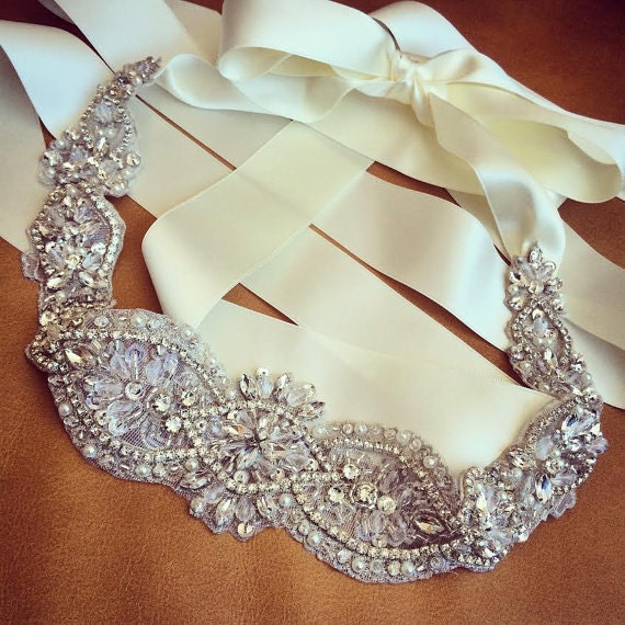 edb4c8eb20 Free Shipping to US Crystal and Rhinestone Beaded Applique Bridal Belt  Wedding Applique