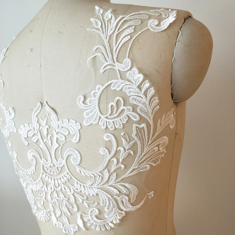 Exquisite venice embroidery bridal veil lace applique in off white  wedding bodice lace appliuque patch