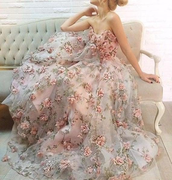 8b2aef8d9 3D cordón tela de Organza con apliques de flores de color rosa | Etsy