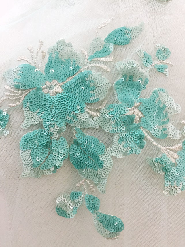 4 pieces aqua sequined bridal lace applique, wedding gown bridal veil embellishment , bridal applique