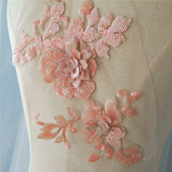 Peach Flower 3D Sequin lace applique for dance costumes, cosplay wears