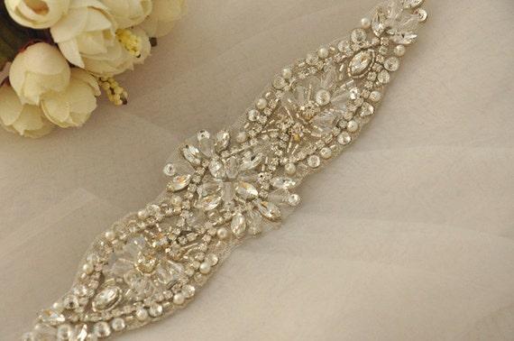 2da95f5fe0 sale Crystal and Rhinestone Beaded Applique Bridal Belt Wedding Sash  Applique Free Shipping to USA