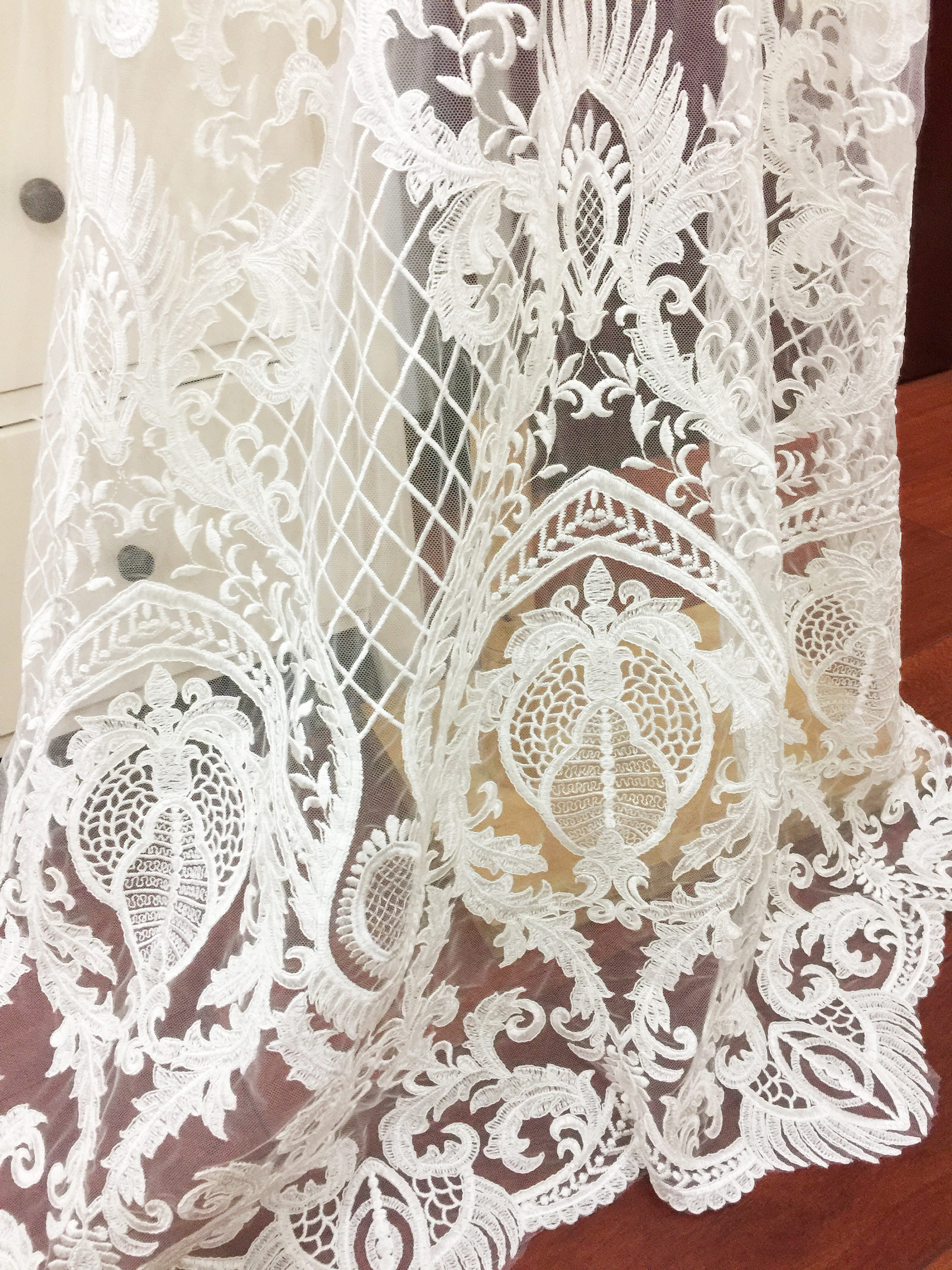 Haute Couture Luxury Thick Embroidery Lace Fabric For Wedding Etsy
