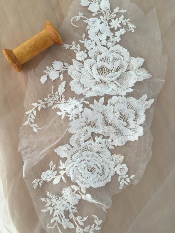 Ivory Applique lace , cotton floral embroidery lace applique, bridal applique, wedding veil applique, lace motif , bridal hair headpiece