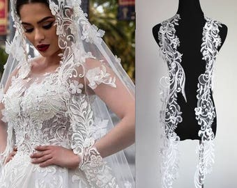 bridal veil lace applique pair in ivory with clear sequins on wholesale price