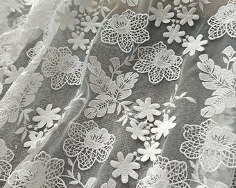 1 yard 3D flower lace fabric , delicate bridal lace fabric for wedding, gowns, couture design