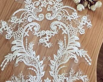 Ivory Bridal Lace Applique, Vintage Style Wedding Gown Applique
