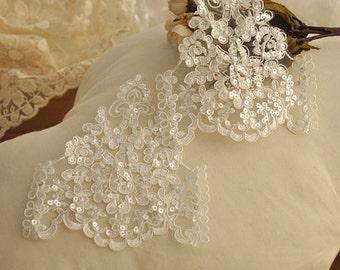 10 pieces Delicate Lace Applique with Sequin, Beaded Applique Lace