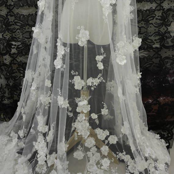 Tissu dentelle exquise perle perlée de fleurs 3D par robe yard pour mariage robe par bal robe dentelle tissu a18a47