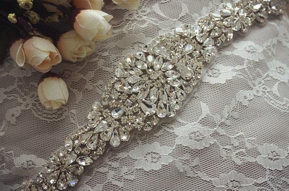 2478c53958 Free Shipping to USA Rhinestone bridal applique, crystal applique for  wedding sash, beaded belt, bridal belt