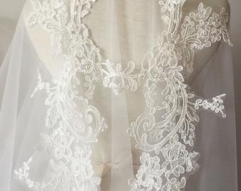 Exquisite French Alencon Lace Applique Pair in Ivory, Bridal Veil Lace Wedding Dress Hem Cape Accessories