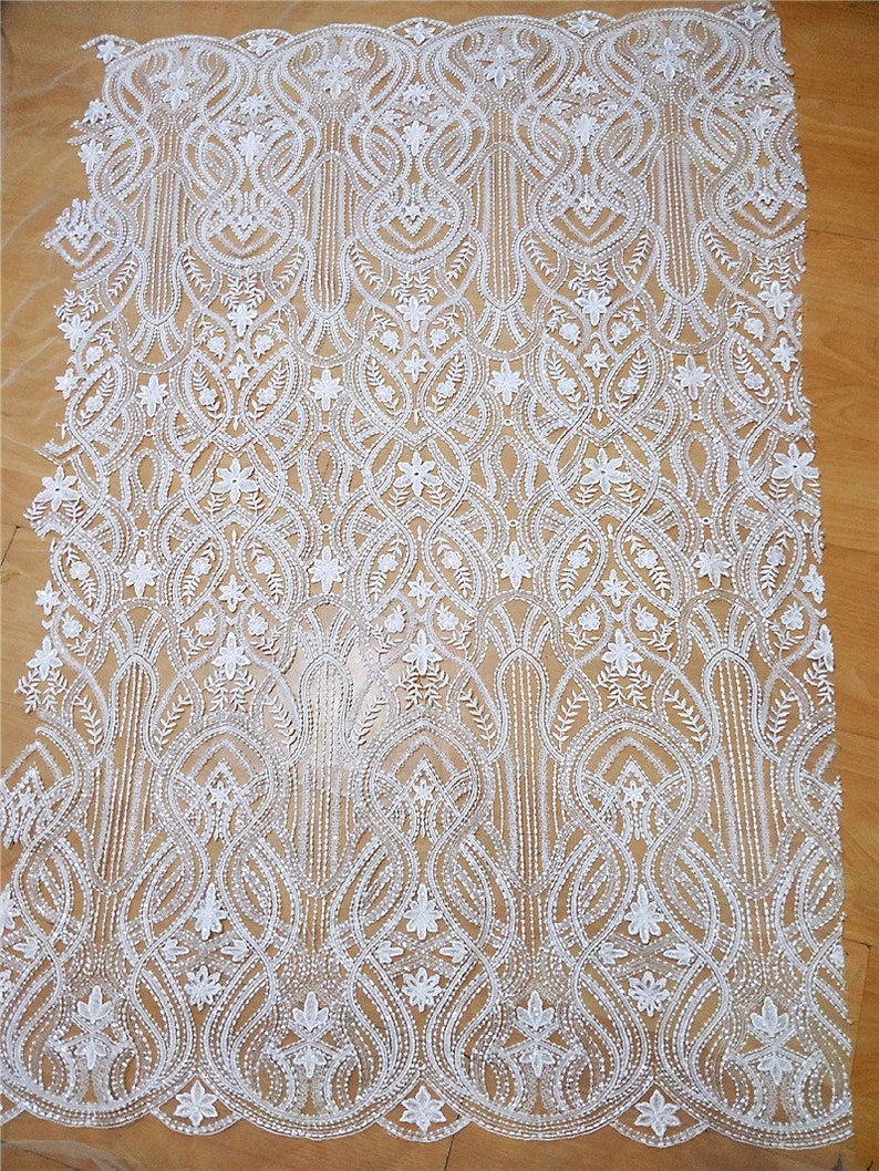 Quality Translucent Sequin Lace Fabric in Vintage style Off White Couture Lace Fabric by yard with Clear Sequin